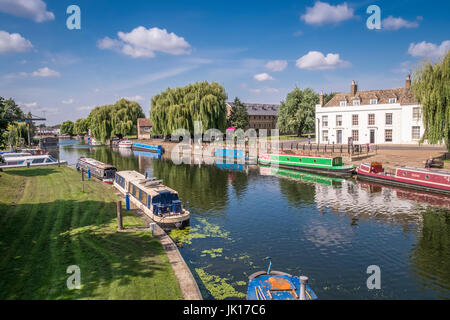 Canal boats moored at The Maltings Riverside walk area, River Ouse, Ely, Cambridgeshire, East Anglia, UK - Stock Photo