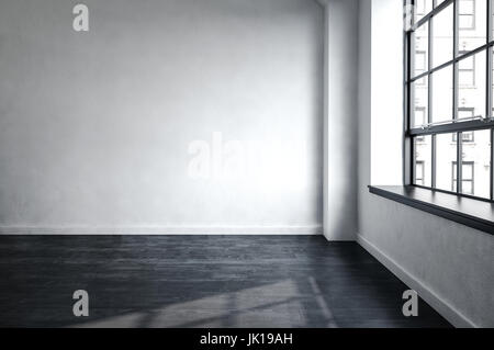 3d rendered bare unfurnished room in an urban apartment or office block in a close up corner view with a window - Stock Photo