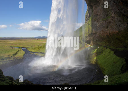 Seljalandsfoss waterfall on the south coast of Iceland - Stock Photo