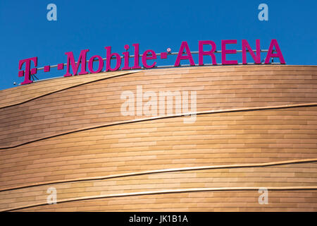 Las Vegas - Circa July 2017: The T-Mobile Arena Located on the Strip. T-Mobile Arena will be the home of the NHL's - Stock Photo