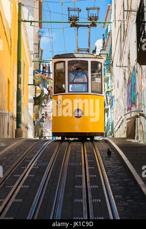 Lisbon tram Portugal, a tram carrying tourists descends the Elevador da Bica in a street in the Bairro Alto district - Stock Photo