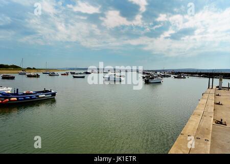Boats in Keyhaven harbor hampshire - Stock Photo