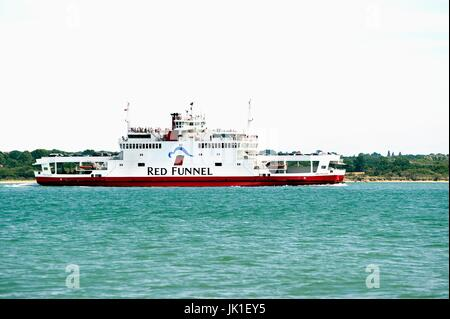 Red Funnel car ferry leaving Southampton for the Isle of Wight - Stock Photo