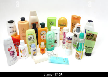 A Collection of Shampoo, Conditioners, Shower Gels and Bubble Bath - Stock Photo