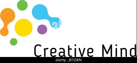 Brain storming business vector isolated logo template. Colorful creative mind logotype connected points. Dots simple - Stock Photo