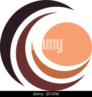 Wave and cream color sun, sunset and sunrise logotype. Isolated abstract decorative logo, design element template - Stock Photo