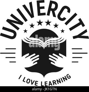 Black and white education emblem on white background, school vector logo, monochrome vintage sign. University, college - Stock Photo
