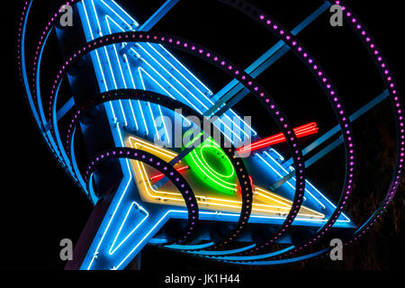 Las Vegas - Circa July 2017: Neon Martini Glass known as Oscar's Martini on Fremont Street in Downtown Las Vegas - Stock Photo