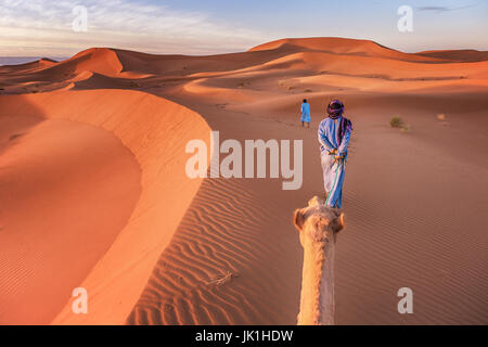 Two nomadic tribesmen wearing traditional clothing lead a camel through the Sahara Desert in Morocco. - Stock Photo