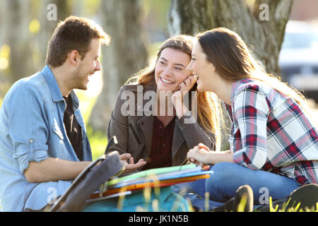 Three happy students talking after classes sitting on the grass outside in a park - Stock Photo