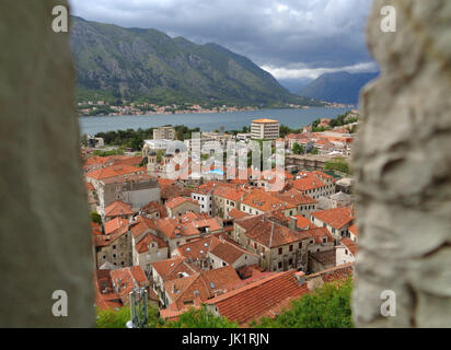 Stunning view of Kotor Old City and Kotor Bay seen from the Rampart, Kotor, Montenegro - Stock Photo