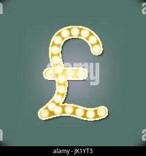 Vector illustration of realistic retro signboard letter P. Part of alphabet including special letters. - Stock Photo