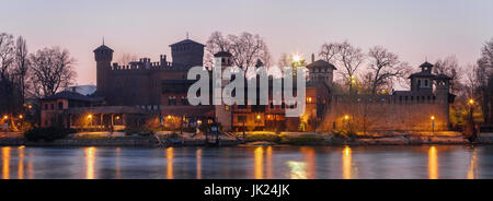 Turin - The evening panorama of Borgo Medievale castle. - Stock Photo