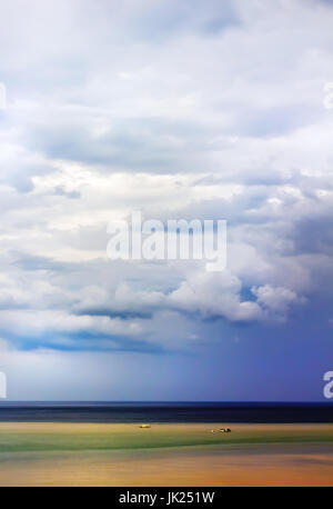 Sea and sky after storm beyond horizon in different colors - Stock Photo