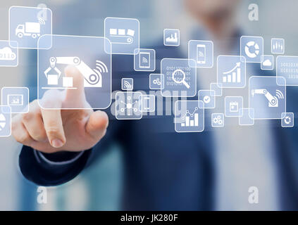 Smart factory or industry 4.0 concept where internet of things (IOT) helps connect robots with cloud computing and - Stock Photo