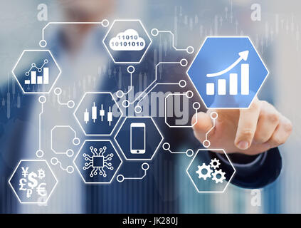 Fintech (financial technology) concept with businessman touching business intelligence (BI) analytics data icons - Stock Photo