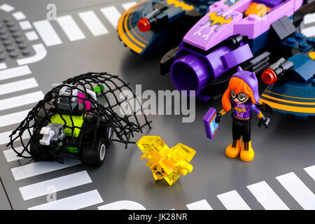 Tambov, Russian Federation - March 04, 2017 Lego DC Super Hero Girls world. Batgirl mini-doll and her Batjet try - Stock Photo