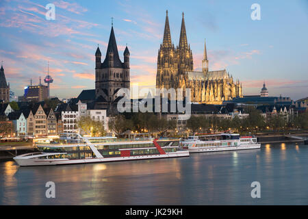 Aerial view Cologne over the Rhine River with cruise ship in Cologne, Germany. - Stock Photo