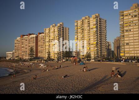 Uruguay, Punta del Este, condo buildings along Playa Mansa beach, sunset - Stock Photo
