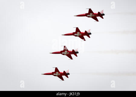 The Patrouille Suisse Display Team of the Swiss Air Force display at Fairford International Air Tattoo 2017 - Stock Photo