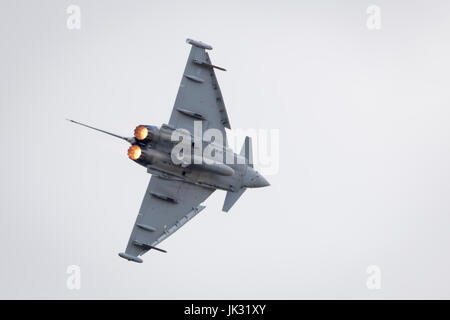 Royal Air Force RAF Euro Fighter Typhoon on landing approach after display at Royal International Air Tattoo 2017 - Stock Photo