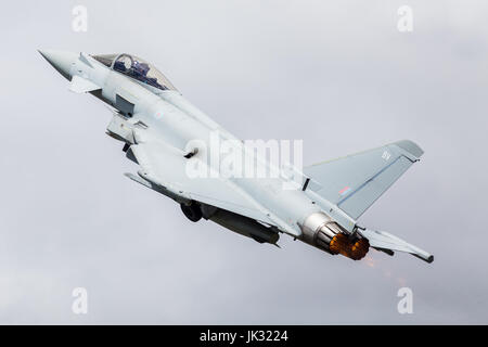 RAF Typhoon FGR.4 climbs into the sky at the 2017 Royal International Air Tattoo at RAF Fairford in Gloucestershire. - Stock Photo