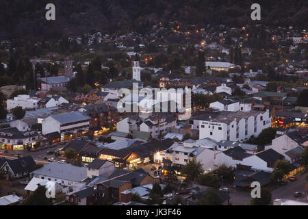 Argentina, Neuquen Province, Lake District, San Martin de los Andes, town view from the east, evening - Stock Photo