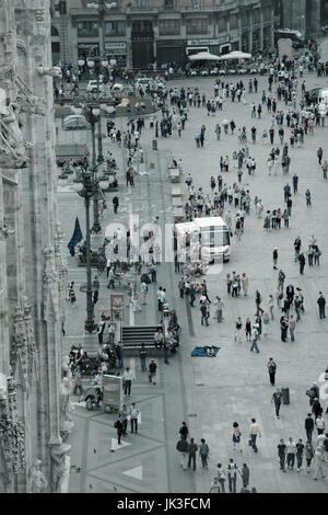 Italy, Lombardy, Milan, Piazza Duomo, view from Duomo cathedral - Stock Photo