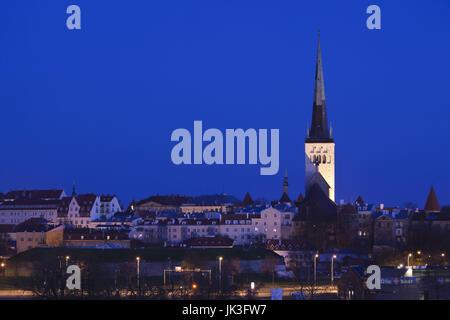 Estonia, Tallinn, St. Olaf's Church from the Passenger Port, dawn - Stock Photo
