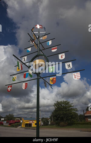 Uruguay, Nueva Helvecia, also known as Colonia Suiza, town settled by Swiss Immigrants, marker of Swiss cantons - Stock Photo