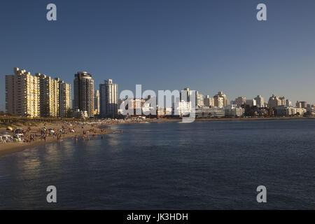 Uruguay, Punta del Este, condo buildings along Playa Mansa beach - Stock Photo