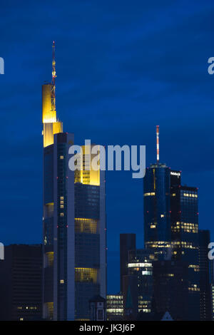 Germany, Hessen, Frankfurt am Main, Commerzbank Tower and Main Tower, dawn, - Stock Photo