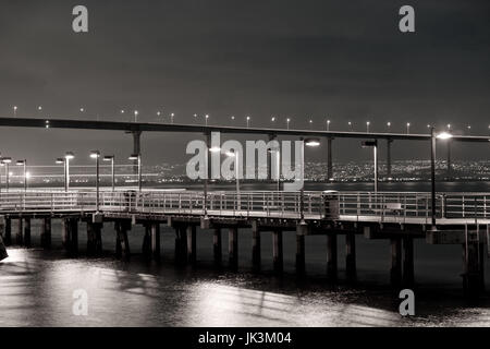 USA, California, San Diego, Coronado Bridge from Embarcadero Park, evening - Stock Photo