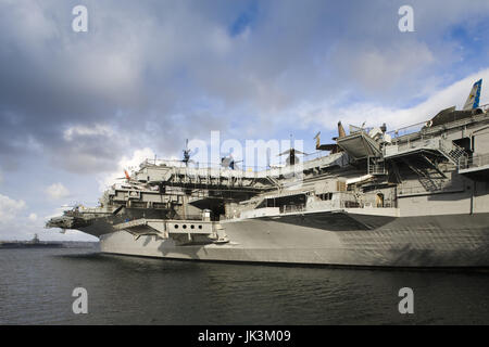 USA, California, San Diego, USS Midway Aircraft Carrier Museum, San Diego Waterfront - Stock Photo