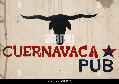 Argentina, Jujuy Province, Quebrada de Humamuaca canyon, Tilcara, pub sign - Stock Photo