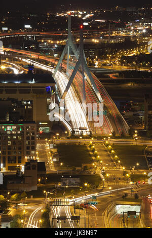 USA, Massachusetts, Boston, Leonard Zakim Bridge and Rt. 93, high angle view, evening - Stock Photo