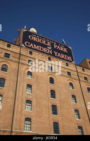 USA, Maryland, Baltimore, Oriole Park at Camden Yards, Baseball Stadium, home of the Baltimore Orioles - Stock Photo