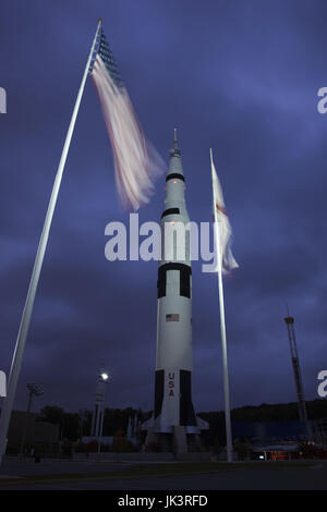USA, Alabama, Huntsville, US Space and Rocket Center, Saturn V rocket, used in moon launch, exterior, dawn - Stock Photo