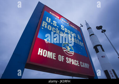 USA, Alabama, Huntsville, US Space and Rocket Center, Saturn V rocket, used in moon launch, sign, dawn - Stock Photo