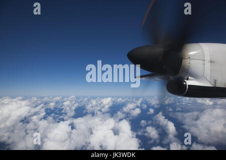 Puerto Rico, San Juan, view of airliner propeller over Caribbean Sea - Stock Photo