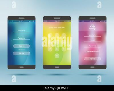 Mobile application UI kit collection set. Join us screen, number security screen, profile settings screen, social - Stock Photo