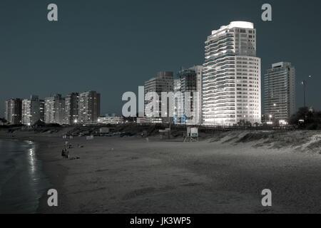 Uruguay, Punta del Este, condo buildings along Playa Mansa beach, evening - Stock Photo