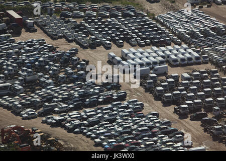 Uruguay, Montevideo, port view with new automobiles, aerial - Stock Photo