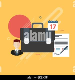 Documents of agreement or reports with data for signature, businessman, briefcase and calendar in the form of icons. - Stock Photo