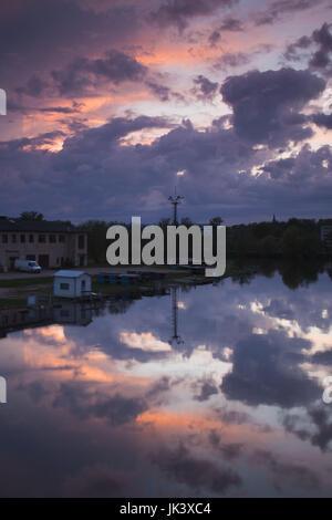 Estonia, Southeastern Estonia, Tartu, dusk over Emajogi River - Stock Photo