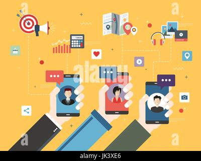 Hand holding smart phone with apps of communication. Icons of  investment, messages, social media and marketing - Stock Photo