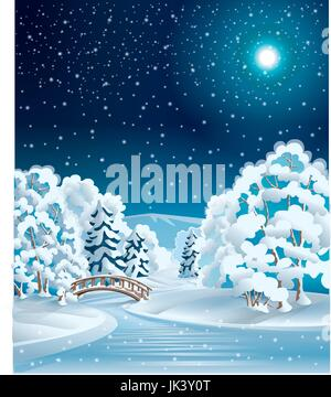 Night in the winter forest - Stock Photo