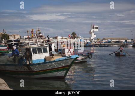 Tunisia, Tunisian Central Coast, Sousse, port, fishing boats - Stock Photo