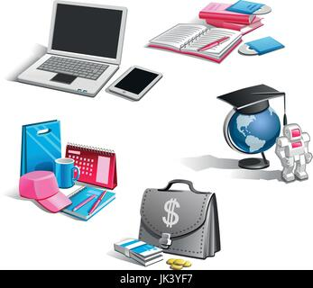 Set of vector icons on the theme of business and finance - Stock Photo