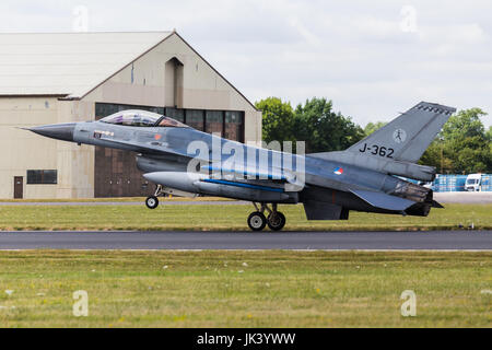 An F-16 Fighting Falcon from the Royal Netherlands Air Force seen at the 2017 Royal International Air Tattoo at - Stock Photo